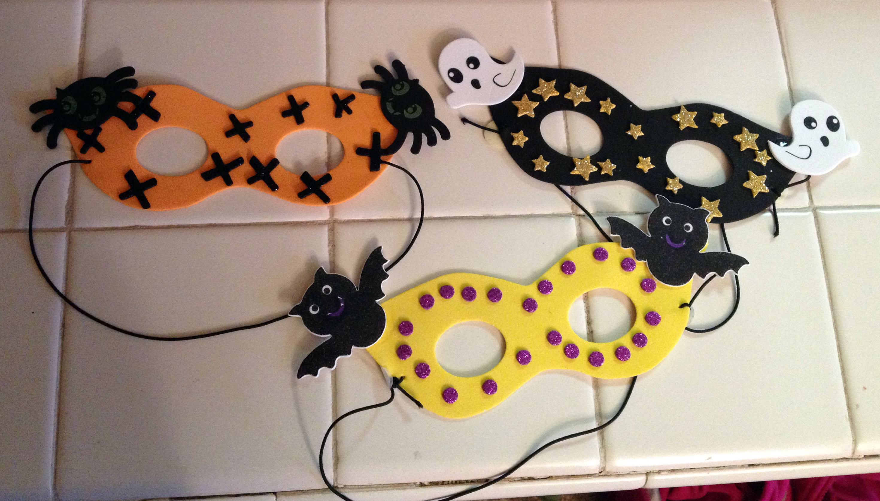 keeping in theme with halloween crafts the kids and i made these halloween foam masks yesterday